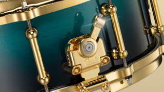 Pearl Masterworks Snare with Satin Sea Fade Shell Finish and Gold Plated Hardware