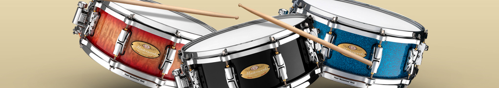 Pearl Masterworks Snares with Red Maple Burl Fade Shell Finish and Chrome Plated Hardware, Piano Black Shell Finish and Chrome Plated Hardware, and Crushed Blue Sparkle Shell Finish and Chrome Plated Hardware